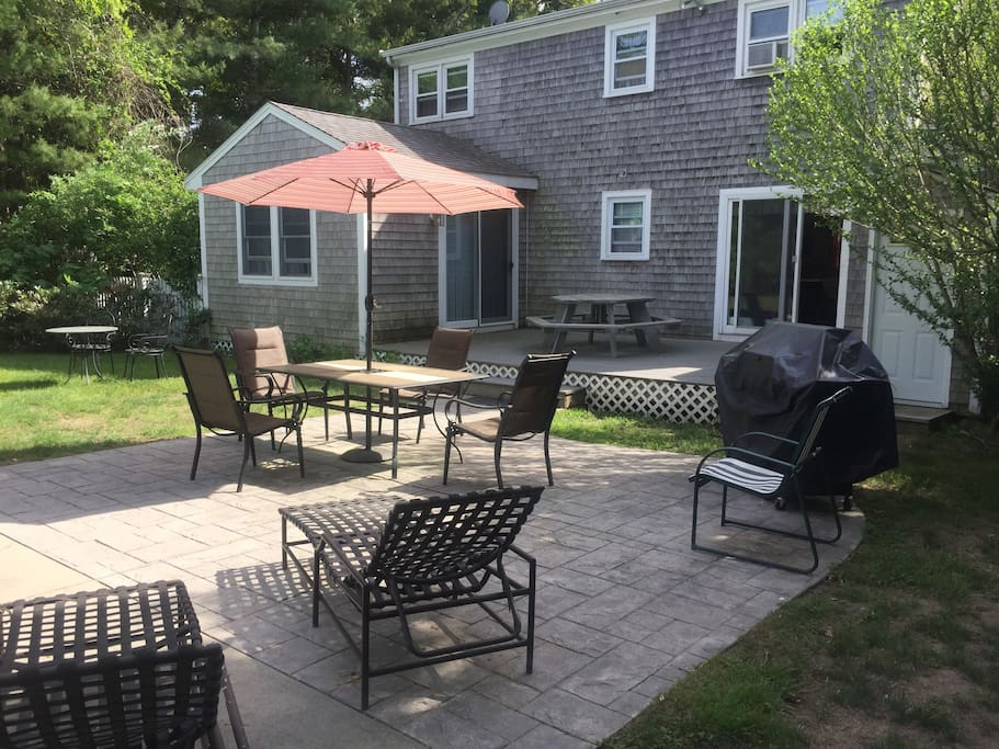 Plenty of outdoor furniture & a great gas grill