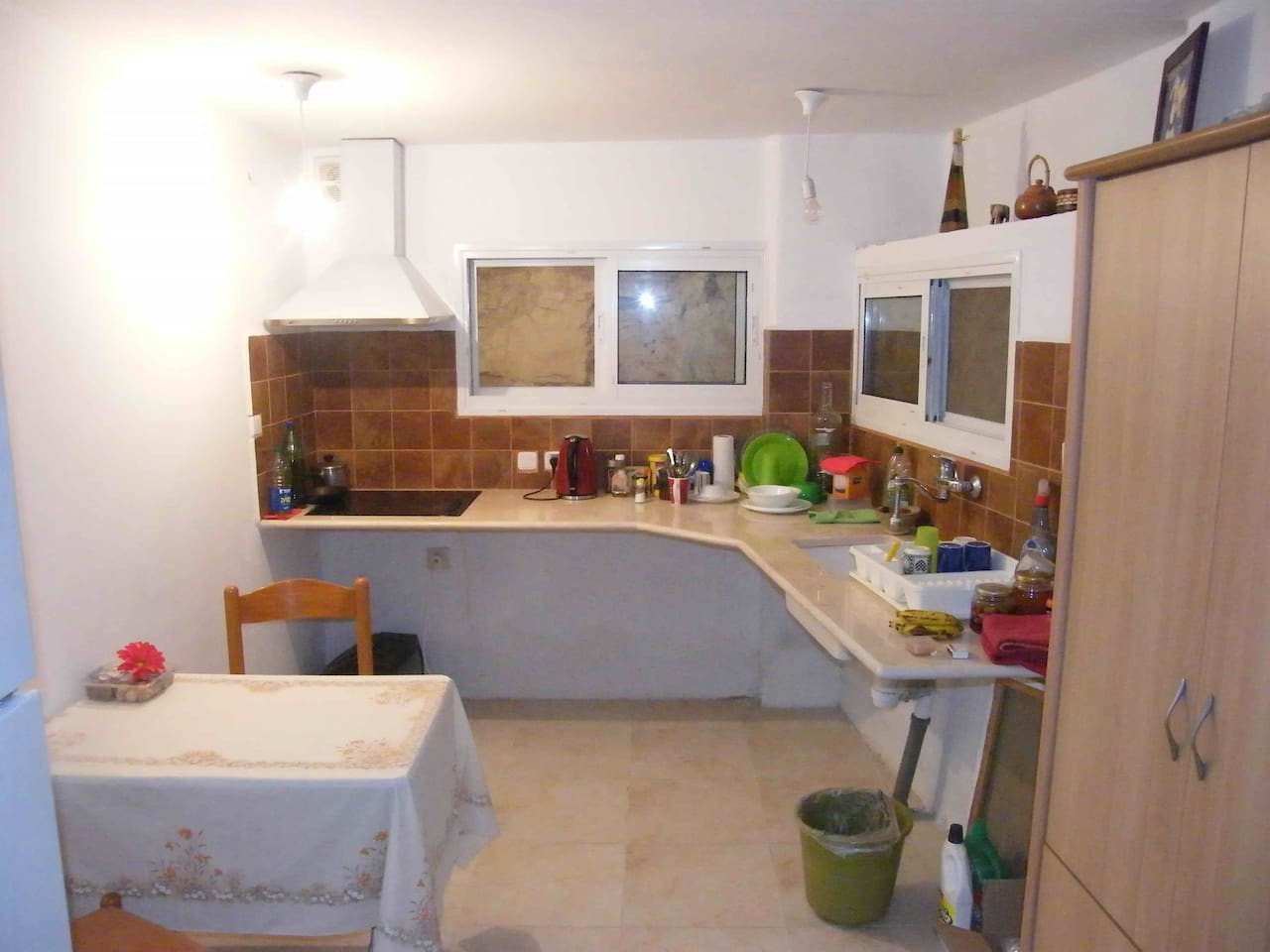 Kitchen (refrigerator is on the left)