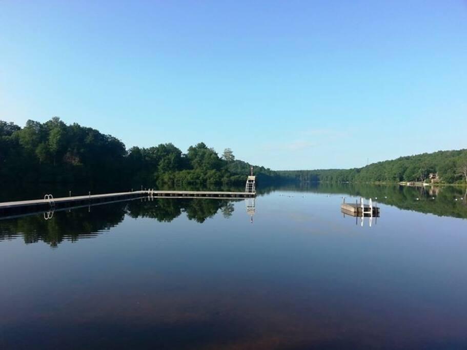 swim or sail in the beautiful lake mokoma