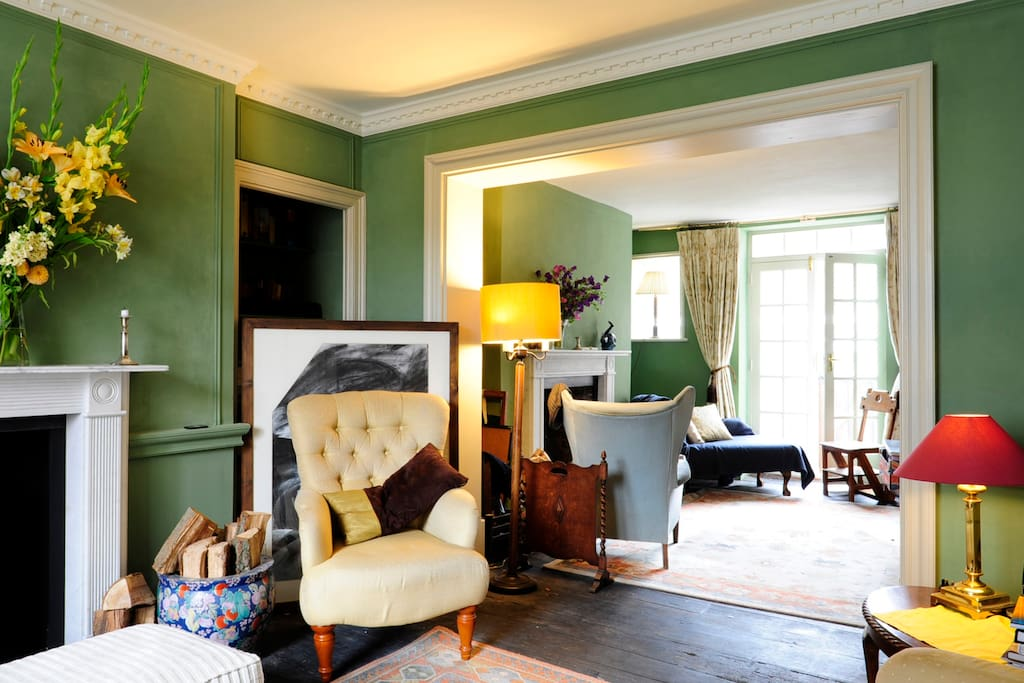 The main room on the ground floor is comfortable and cosy with a wood burner and open fire. Logs are usually available.