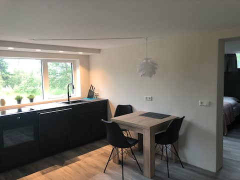 Warm, newly renovated apartment in a family home.
