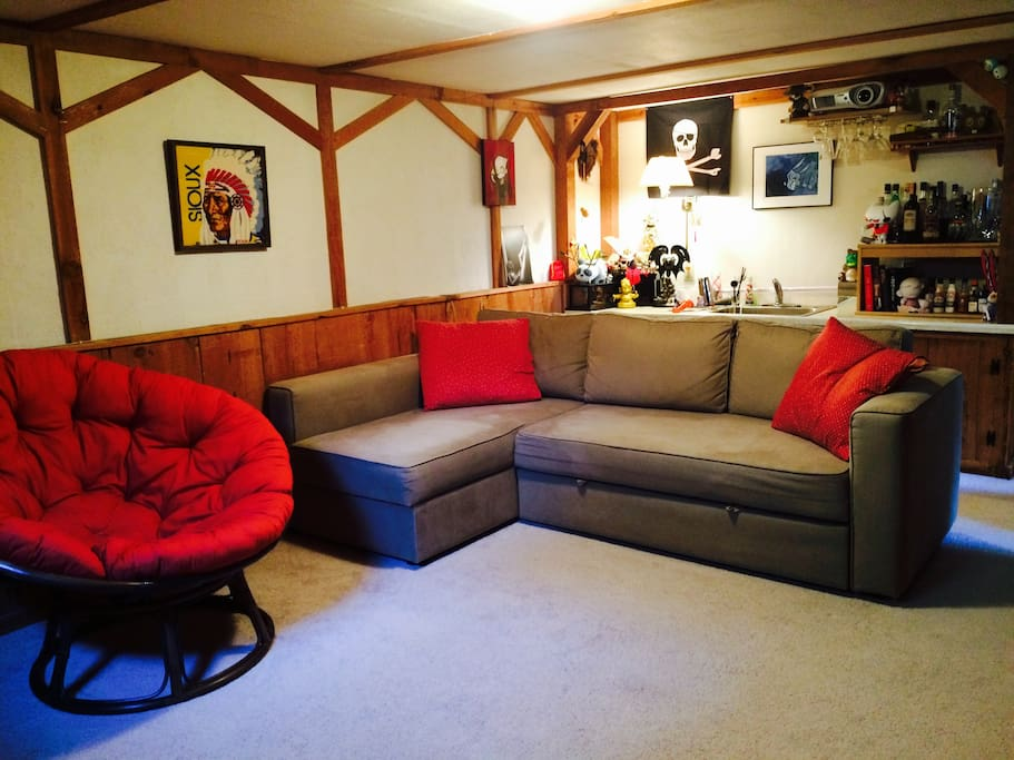Your other room: a living room with a couch that folds out to a double bed and can sleep two more people