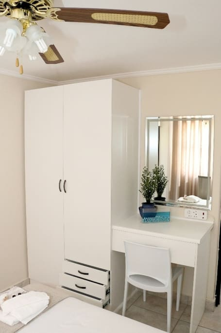 Wardrobe with Mirror, Chair, Shelves and Drawers