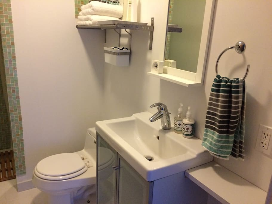 Your clean, simple, private bathroom includes toilet, sink, and shower.
