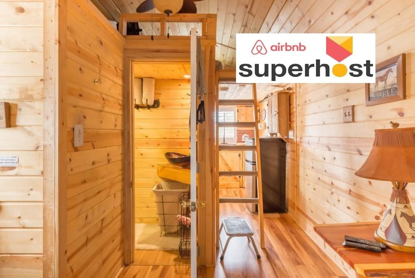 """Fabulous custom built Tiny House sleeps 2 people very comfortably beautifully tiled shower with household water flushing commode located on 4 acre horse farm near restaurants entertainment grocery stores malls.....""""Come have the time of your life"""""""