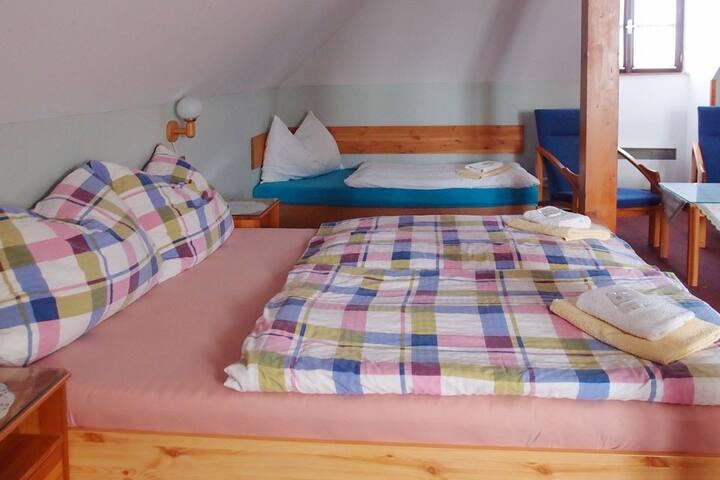 Podkrovní pokoj pro 5 v rodinném hotýlku U Matěje