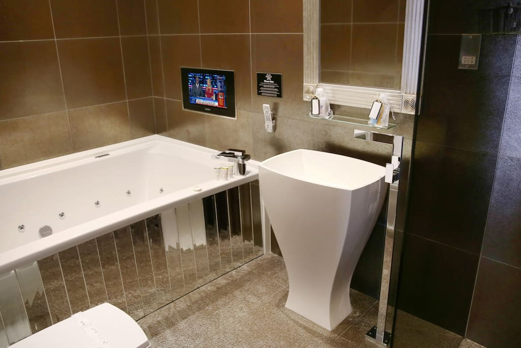 Spa bath, TV, and Shower
