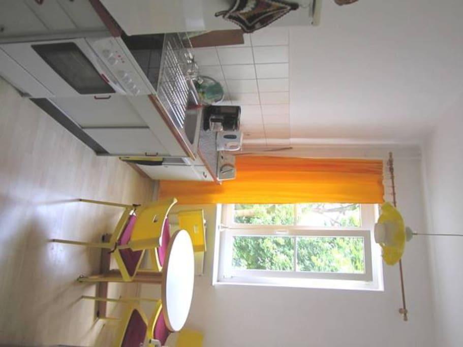 Küche mit Essecke und Grünblick