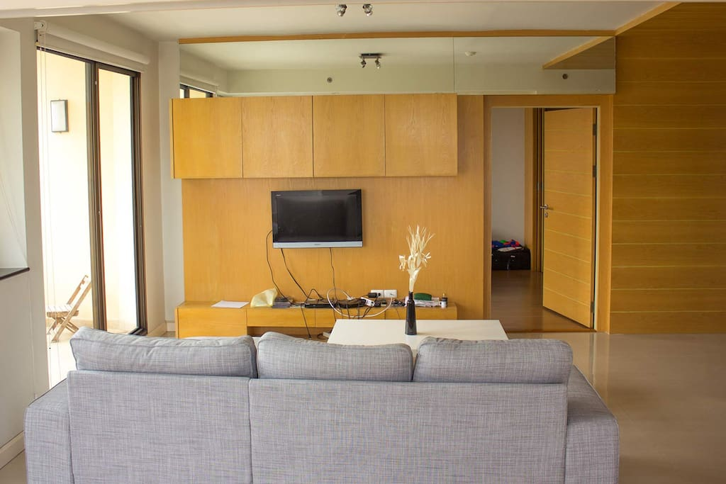 TV-Blue Ray-Cable TV and spacious sofa.