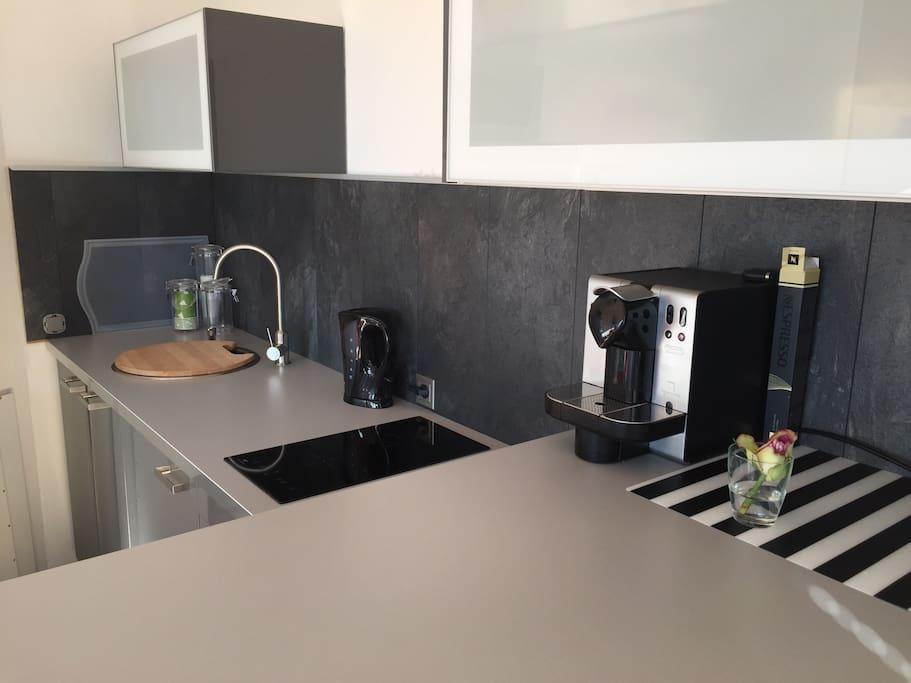 Kleine Küchenzeile (2er Induktionskochfeld & Spüle ) es gibt keinen Backofen! Nespressokaffeemaschine & Wasserkocher& Toaster vorhanden