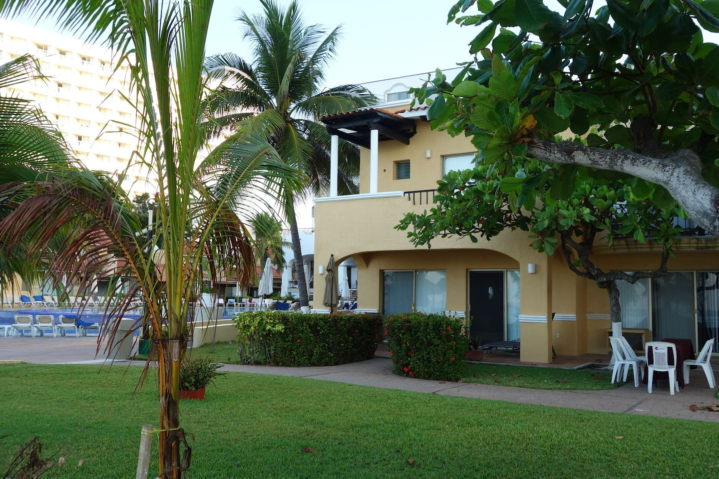 Ocean side of Villa 11, with balcony and private patio (pool seen in background)