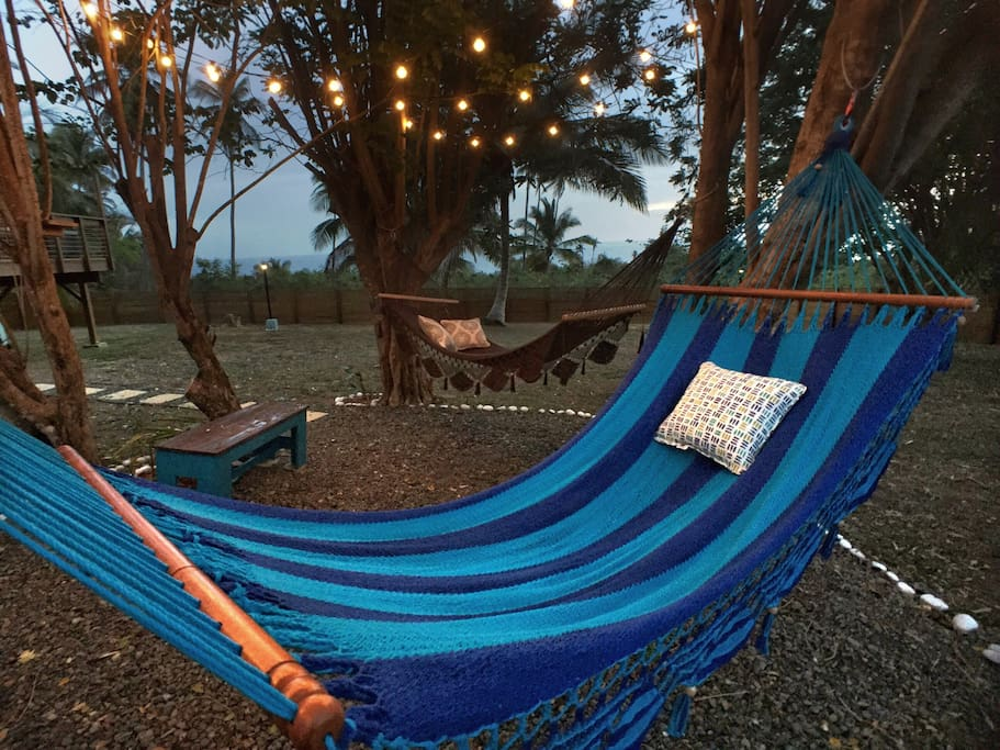 Chill-out area - two large hammocks hang from the trees.
