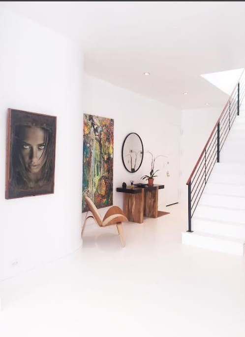 Entry way full of art