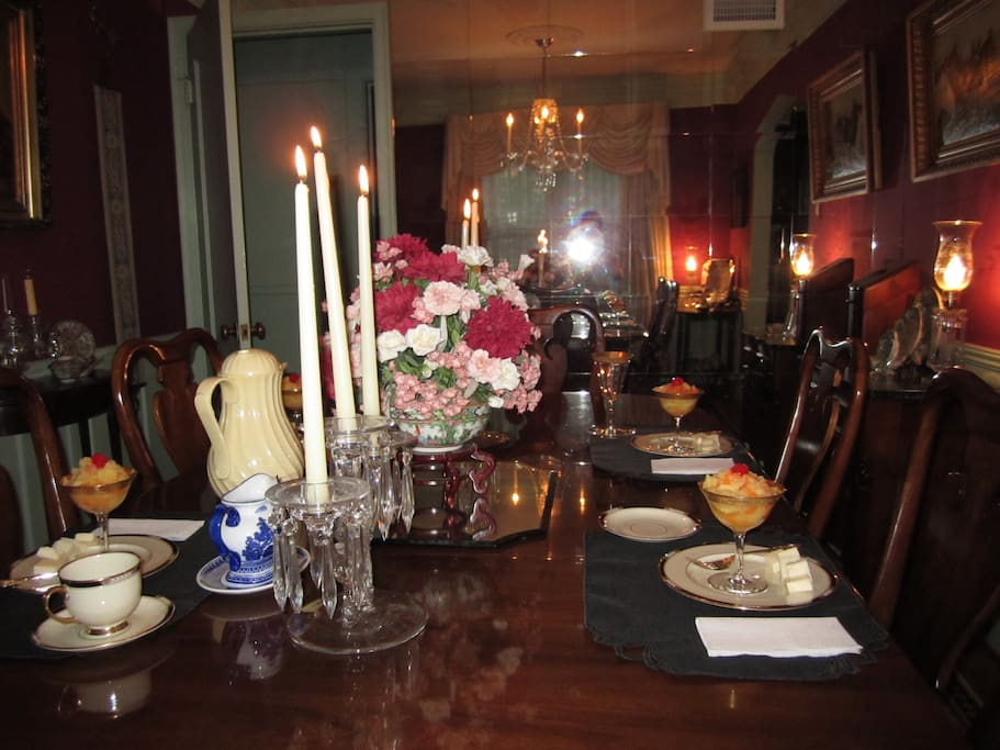 Guests receive a full hot breakfast elegantly served in a formal dining room.