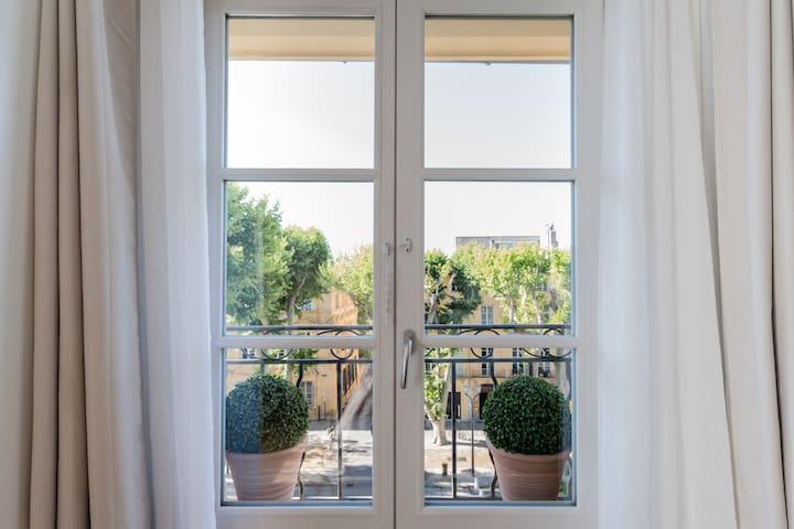 Vue donnant directement sur le cours Mirabeau, fenêtres double vitrage phonique.