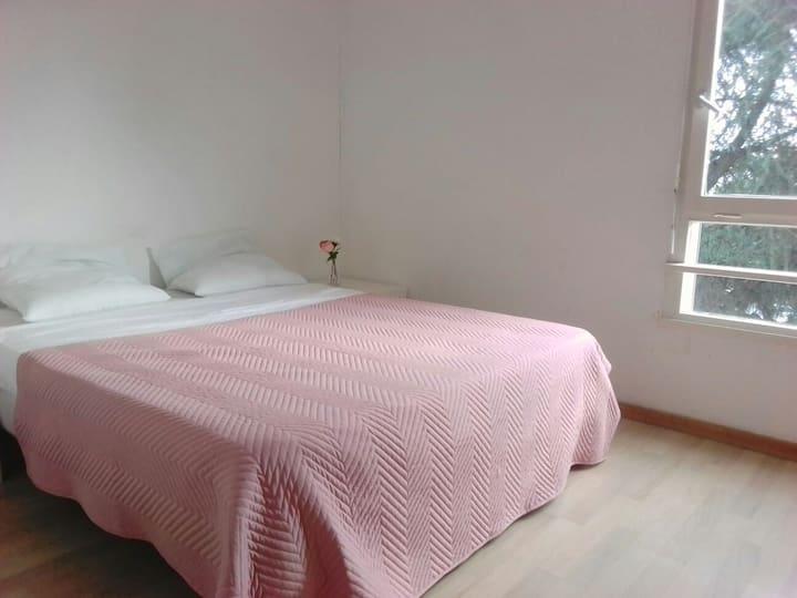 Chambre confortable et minimaliste
