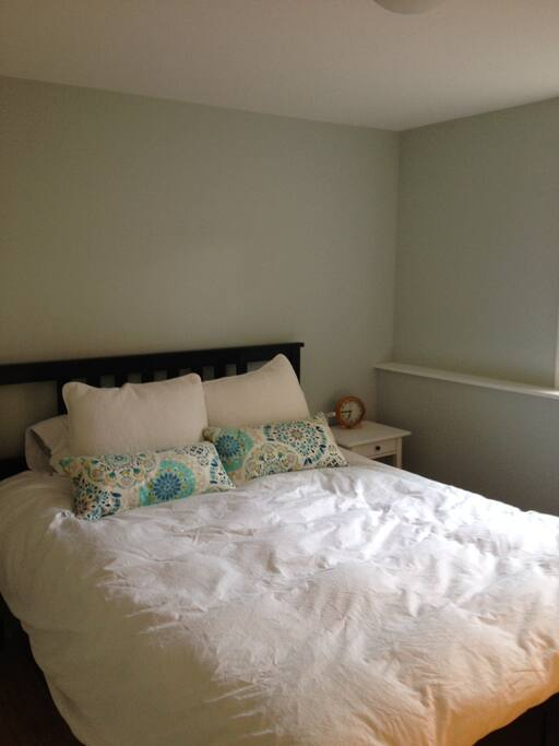 Enjoy a restful night in this freshly decorated bedroom with a brand new mattress.