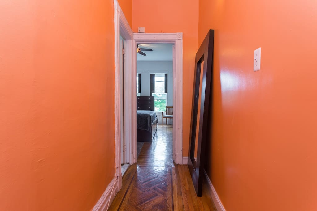 Hallway in floor-through apartment in authentic Brooklyn Brownstone.