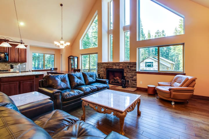 Three-level family-friendly home with multiple decks and a media room!
