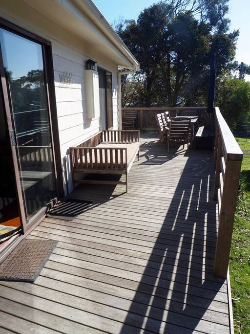 Sunny deck, dining table for friends and family