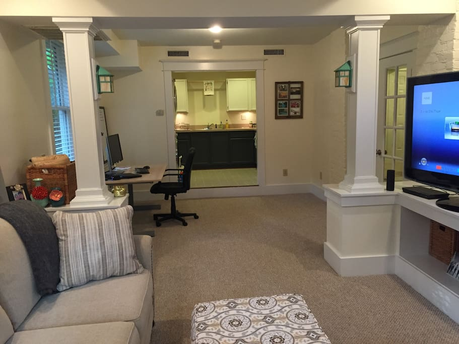 Living room with access to TV with DVD player and Netflix.  Basic cable available.