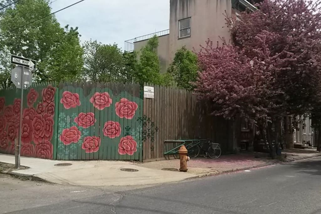 Beautiful street art in the neighborhood