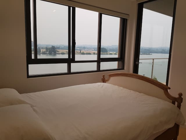 Master bedroom in Waterfront Apt