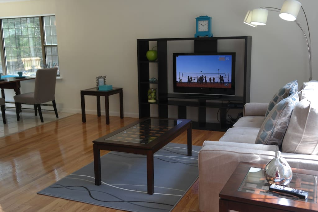 large flat screen TV and cable