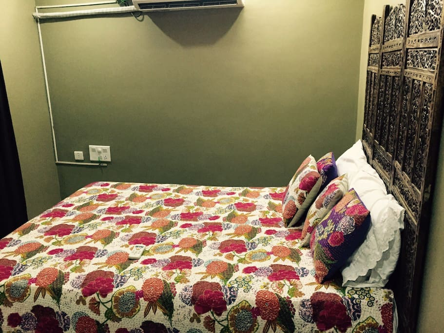The bedroom has a very comfortable mattresses and pillows imported from America, a private bathroom and AC.