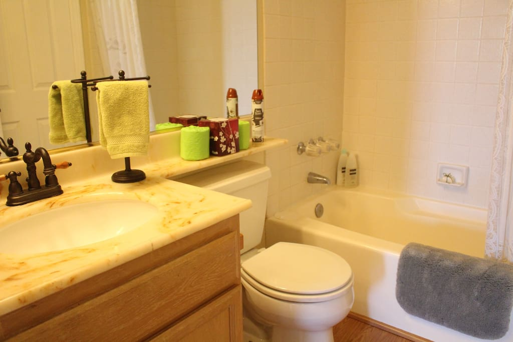 Private full-bath with tub and shower.