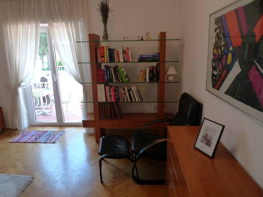 Living room with door to terace