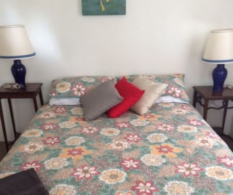Room one is a pleasant room for two with a queen  size bed, complete with a hanging wardrobe  and study desk.