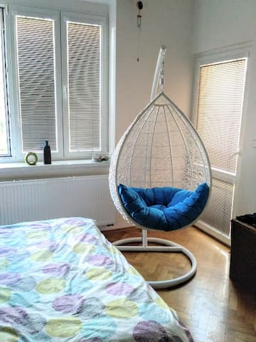 bedroom with relax swing chair