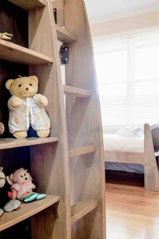 Third bedroom ,  makes a lovely kids room. One bunk and one single bed .  With the  toys put away - there are some comfy single beds on offer .