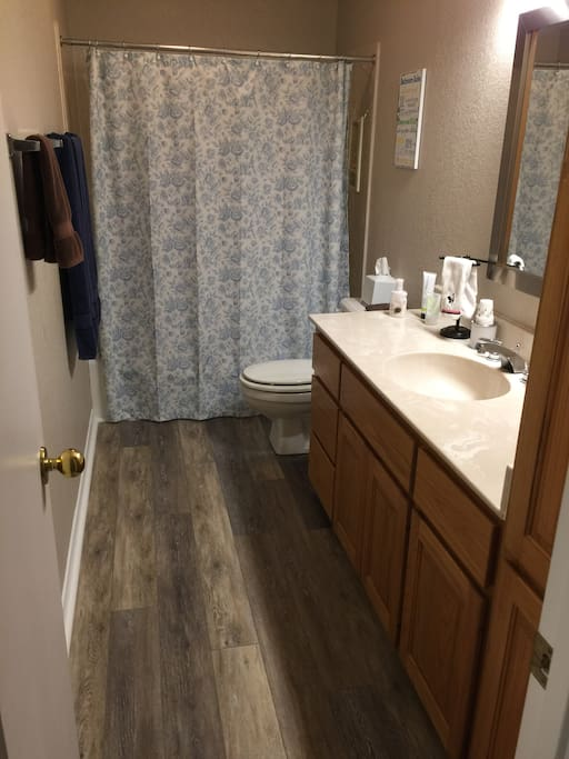 Your bathroom (Tub/shower); hair dryer, selection of soaps and hair products available.
