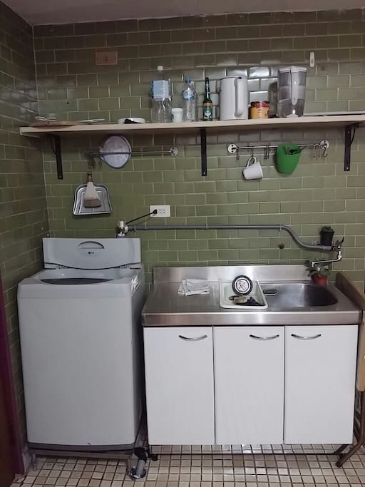洗衣機。流理台
