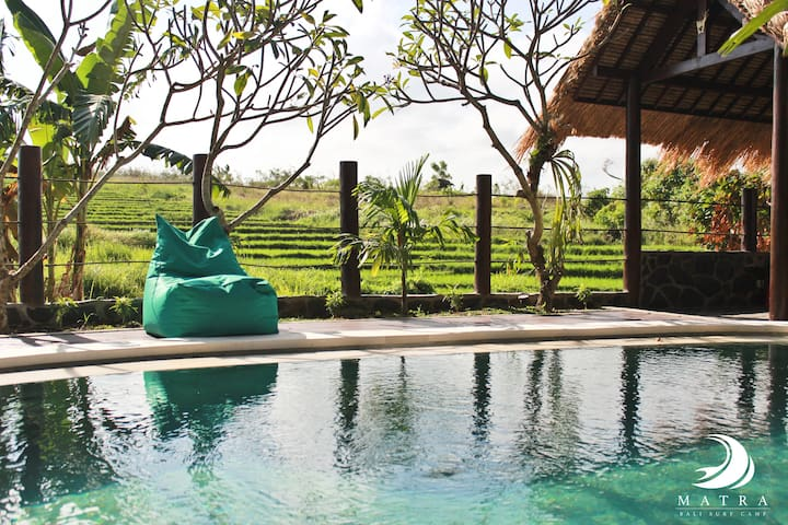 Enjoy the amazing view sitting in a bean bag by our refreshing pool