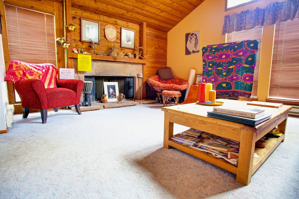 Cozy, comfy living room- lots of color, but nice and subdued in the eves