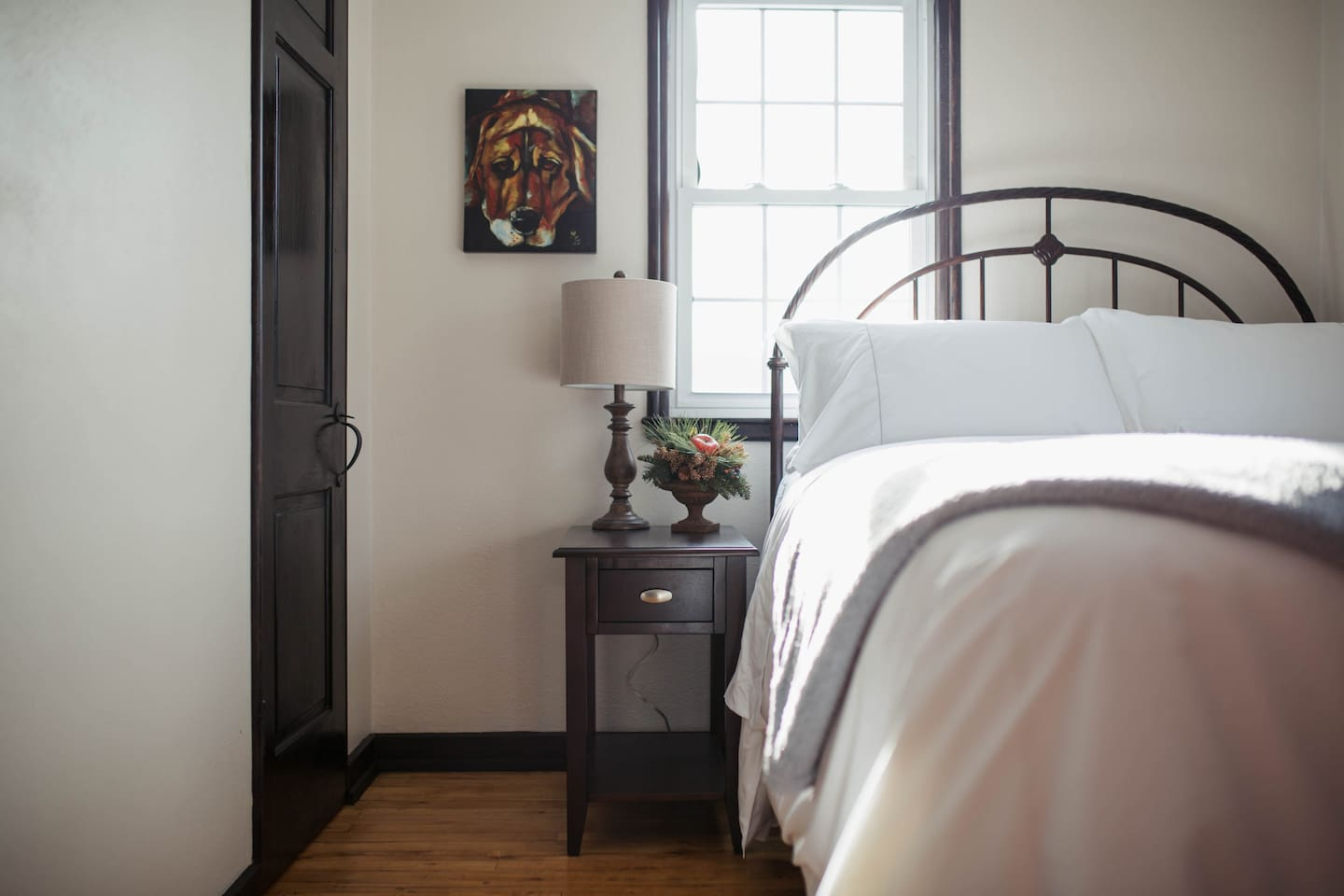 Guest bedroom on the upper level with luxury linens