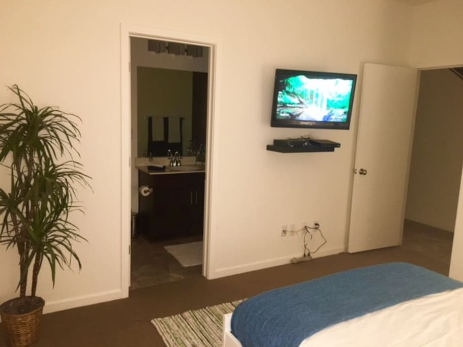 View of private bathroom, TV and location of hall from bed.