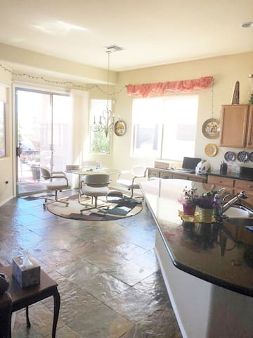 Breakfast area off kitchen and great room. Very open. Refrigerator for your food. Coffee and tea set up.