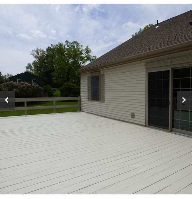 Large deck. Comes with furniture and 4 burner grill
