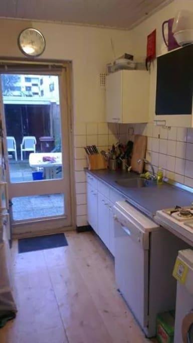 Kitchen and backyard