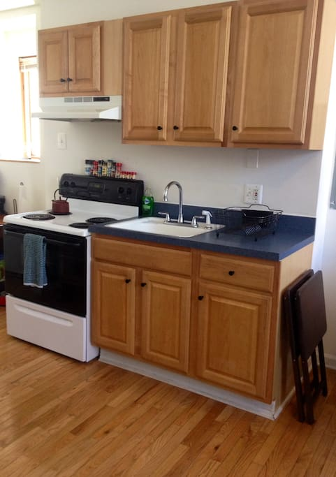 Just the right size kitchen! Also Includes coffee maker and refrigerator!