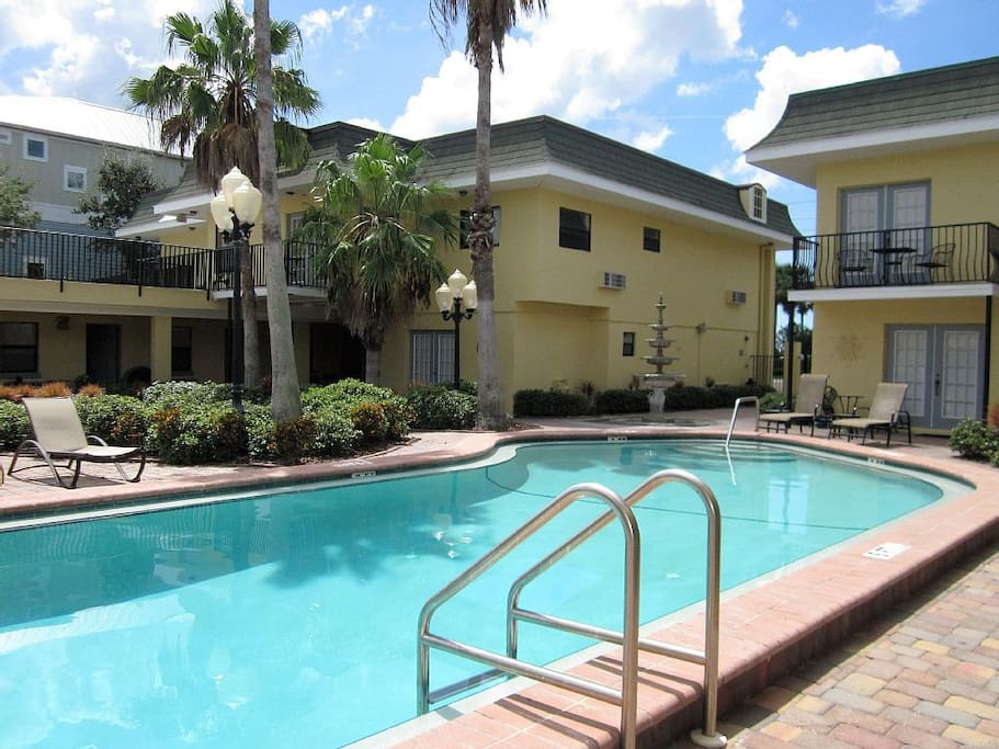 Gorgeous shared courtyard with heated pool, BBQ grill and laundry facility