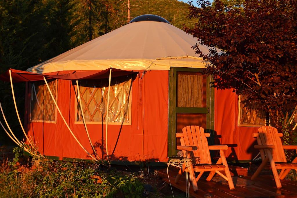 Yurt in setting sun.