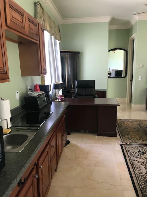 Kitchen area & office workspace area