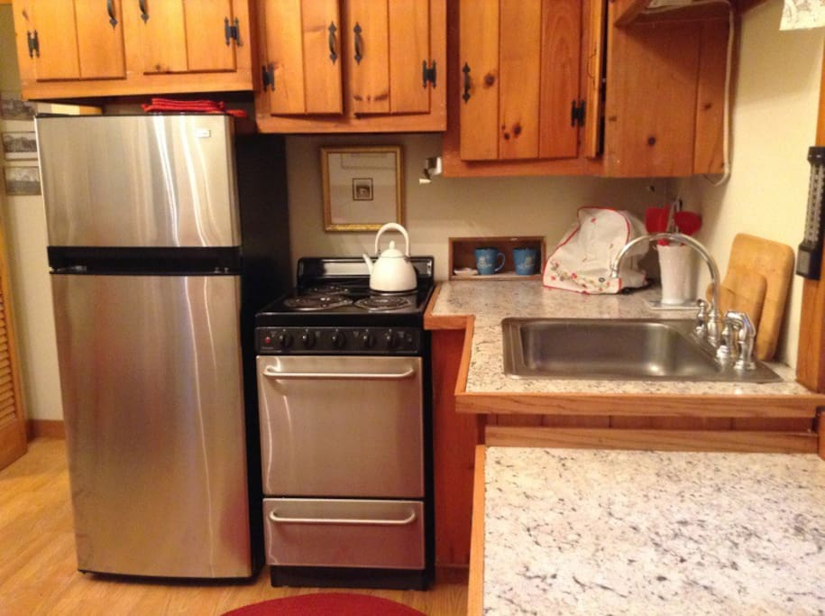 Brand new stainless steel appliances, counter space to cook...bowls, pots, pans included.