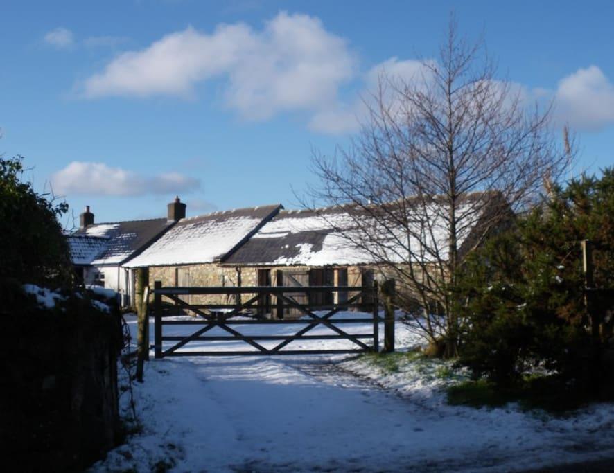 snow, sunshine, blue sky