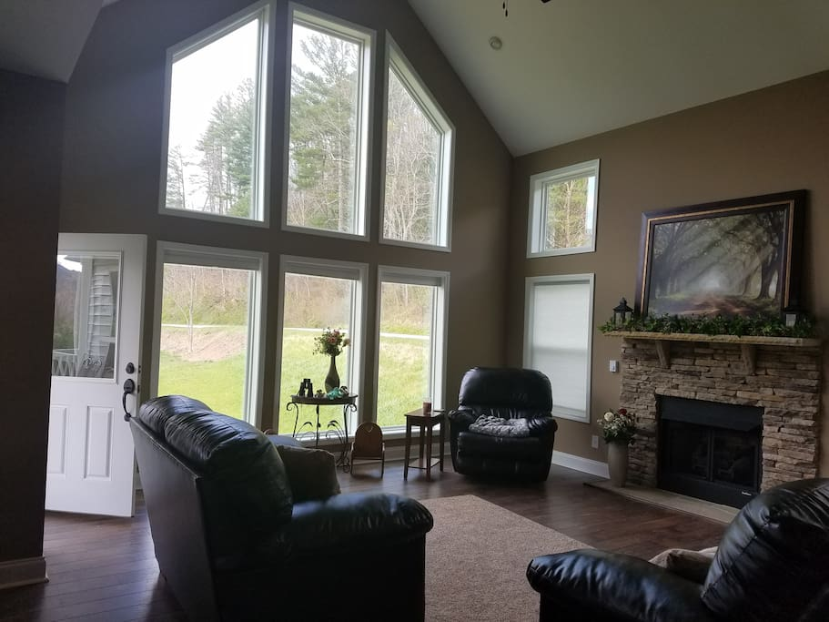 18 foot windows in living room facing the mountains.